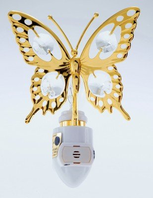 (Butterfly 24k Gold Plated Night Light with Swarovski Crystals)