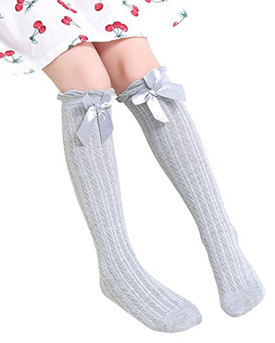 Girls Purple Glitter Witch Tights (BaiX Little Girls' Solid Bowknot Knee High Tube Socks Tights Leg Warmers Grey)