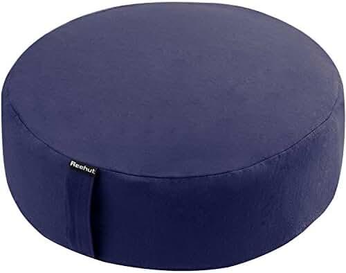 Reehut Zafu Yoga Meditation Bolster Pillow Cushion Filled with Buckwheat - Round Organic Cotton or Hemp - 4 Colors and 3 Sizes