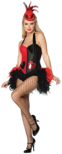 Mystery House Queen Of Heart Deluxe Costume, Black/Red, (Deluxe Queen Of Hearts Adult Costumes)