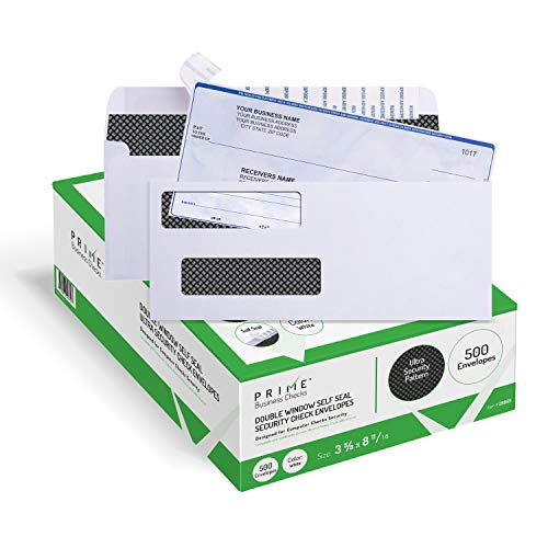 Seal Double Window Envelope - 500 Self Seal QuickBooks Double Window Security Check Envelopes - for Business Laser Checks, Ultra Security Tinted, Self Adhesive Peel & Seal White, Size 3 5/8 x 8 11/16-24lb NOT for INVOICES