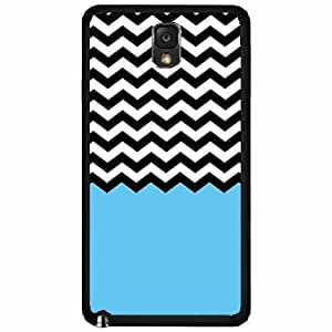 Blue Black and White Chevron TPU RUBBER SILICONE Phone Case Back Cover Samsung Galaxy Note III 3 N9002