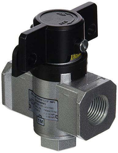 - Midwest Control MCGLKV-1593 Safety Lockout Valve for MCG Series, Hand Operated Three Way Valve, 115 SCFM, 1/2
