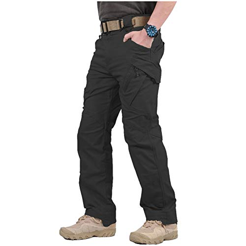 ReFire Gear Men's Tactical Military Cargo Pants SWAT Stretch Cotton Outdoor Hiking Airsoft Trousers with Multi-Function Pockets Black