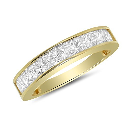 1.00 Carat (ctw) 14k Yellow Gold Princess Channel Set Anniversary Ring Wedding Band (3.5mm) 1 CT - Size - Mm Channel 3.5 Set