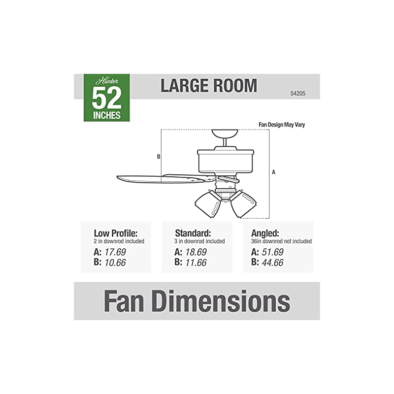 """Hunter Crestfield Indoor Ceiling Fan with LED Lights and Pull Chain Control, 52"""", Noble Bronze"""