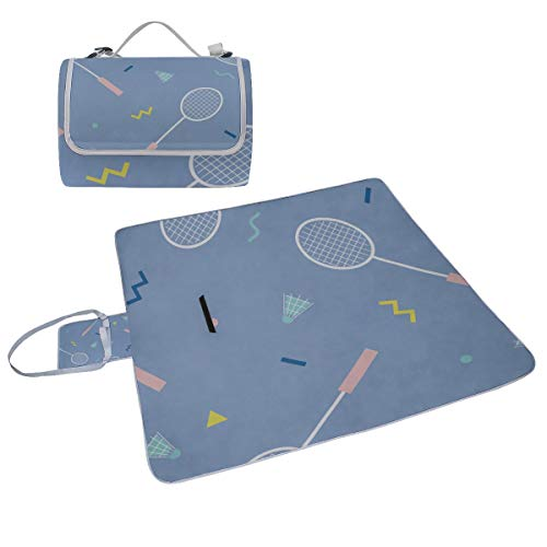 YUMOING Family Picnic Blanket Handy Tote Badminton Racket Entertainment Motion Single Side Printing Foldable Sandproof Waterproof Camping Mat for Outdoor Beach Hiking Grass Travel ()