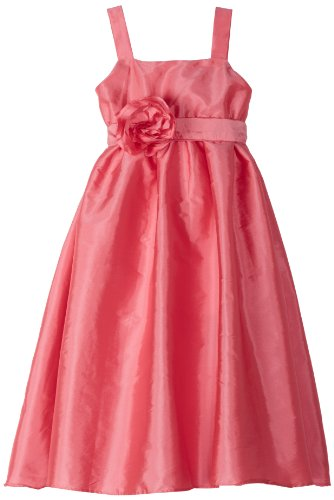 Us Angels Little Girls' Empire Dress With Sash and Fabric Flower, Brite Pink, 6