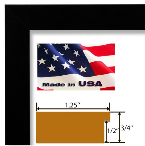 24x32 Custom Satin Black Wrapped Finish Picture Poster Photo Frame Wood Composite Mdf 1.25 inch Wide Moulding by US Art