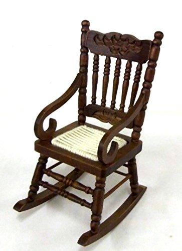 Melody Jane Dollhouse Dark Oak Rocking Chair Rocker with Woven Seat Miniature (Dark Oak Rocker)