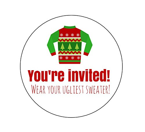 Ugly Sweater You're Invited Stickers - Set of