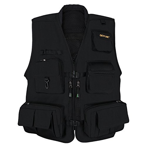 Cheap Multifunction Outdoor Fishing Vest; Goture Multi Pockets Mesh Breathable Jackets Waistcoat for Fishing Hunting Climbing Shooting Hiking traveling Photography Journalists with 15 Pockets(Large)