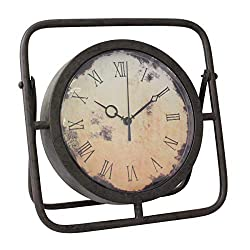 Stonebriar Battery Operated 10 Inch Decorative Rustic Industrial Metal Table Top Clock with Roman Numerals and Easel, Brown