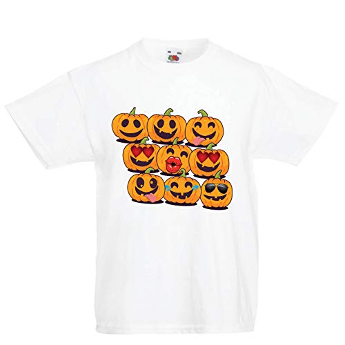 lepni.me Kids T-Shirt Pumpkin Emoji Funny Halloween Party Costume (3-4 Years White Multi Color)