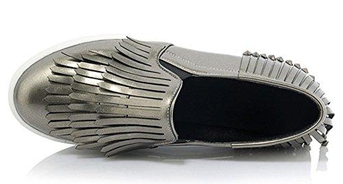 Idifu Mujeres Con Estilo Borlas De Punta Redonda Low Top Slip On Loafers Sneakers Con Tacones Gris