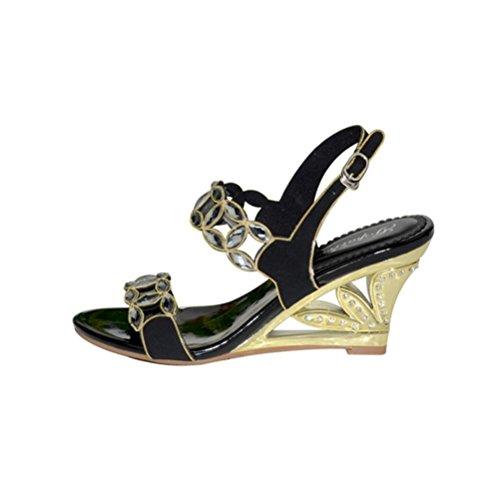 Talons Creux Ouvert Bout 40 Talon Rugueux Taille Femmes Sandales Black Boucle Chaussures Ajouré Perlée Strass Paillettes Hauts Xie Grande BHntqCwzxE