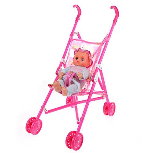 Jocestyle Kids Dolls 4 Wheeler Stroller Pushchair Pram Foldable Girls Baby Toy Doll Gift (Random Color)