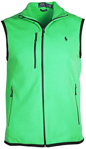 Ralph Lauren Men's Micro Fleece Mock Neck Vest-Green-Small
