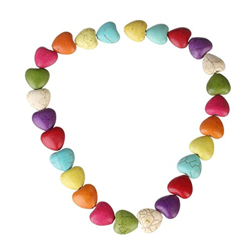 (Approx 27pcs Heart-shaped Colorful Turquoise Stone Beads - 16 x 16 x 8mm - DIY Jewelry Making Spacer Bead for Beaded Necklace Bracelet)