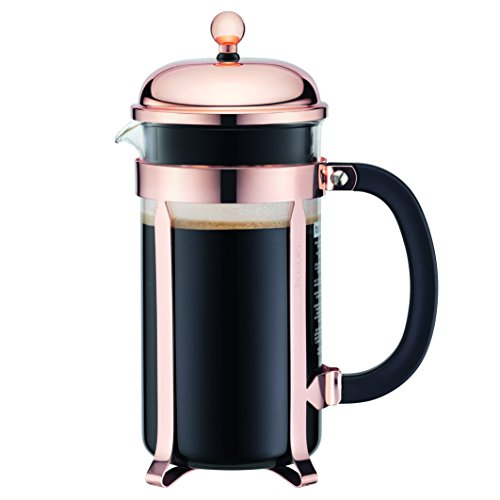 Bodum Chambord French Press Coffee Maker, Glass, 34 Ounce, 1 Liter, Copper (Renewed)