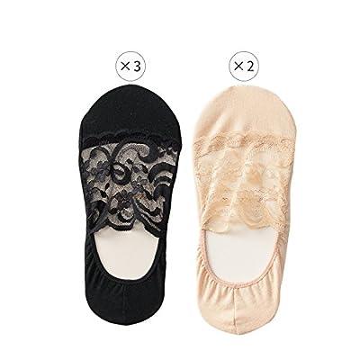 Maivasyy 5 paires de chaussettes Femme'S Section fine de printemps et l'été d'été en coton Lycra Chaussettes invisibles sauvages Prévenir, 3 Noir 2 Skin