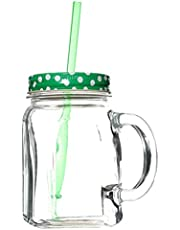 Pasabahce Jar Mug With Straw And Handle, Green White