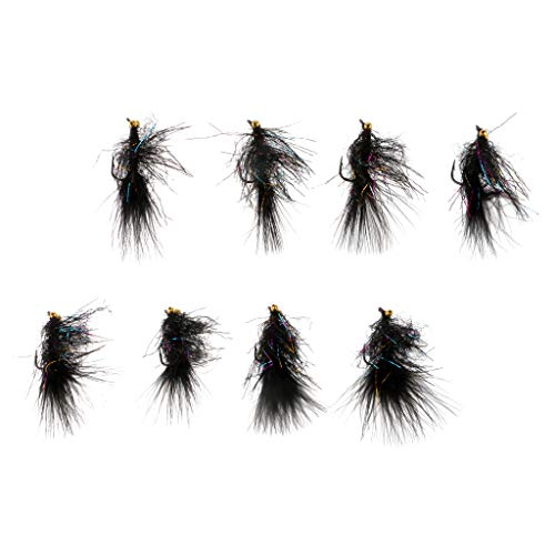 Baosity 10pcs 2'' Sinking Wooly Bugger Flies Wet Trout Salmon Flies with Artificial Feathers and Barbed Single Hook