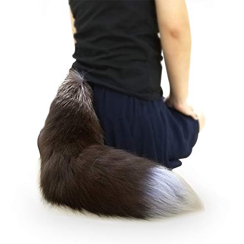 Sheicon Soft Fluffy Silver Fox Big Dress Up Tail for Cosplay (Plus, Black Brown) ()
