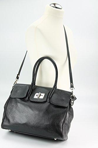 Belli ital. Ledertasche Business Bag Schultertasche DIN A4 geeignet schwarz - 34x27x17 cm (B x H x T)