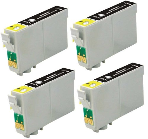 4 Pack Elite Supplies ® Remanufactured Inkjet Cartridge Replacement for #69 T069 T0691, Epson T069120 Black, Works With Epson Stylus C120, Stylus CX5000, Stylus CX6000, Stylus CX7000F, Stylus CX7400, Stylus CX7450, Stylus CX8400, Stylus CX9400Fax, Stylus