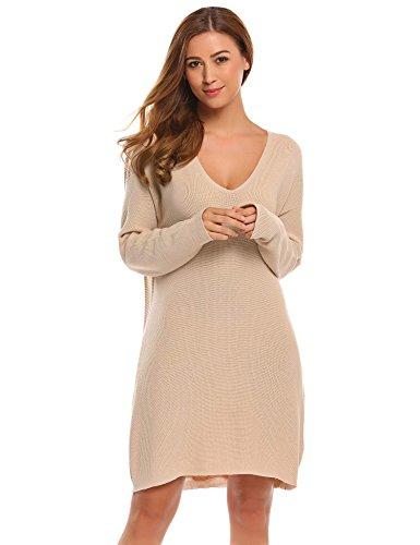 Elesol Women Sexy Deep V Neck Ribbed Knit Dress High Low Hem Pullover Sweater Dress Camel/XXL