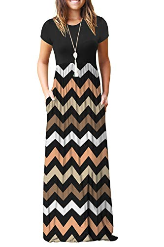 MISFAY Women Short Sleeve Loose Plain Maxi Dresses Casual Long Dresses Pockets (Striped Black, 2XL) -