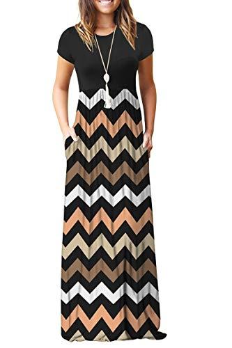 (MISFAY Women Short Sleeve Loose Plain Maxi Dresses Casual Long Dresses Pockets (Striped Black, 2XL))