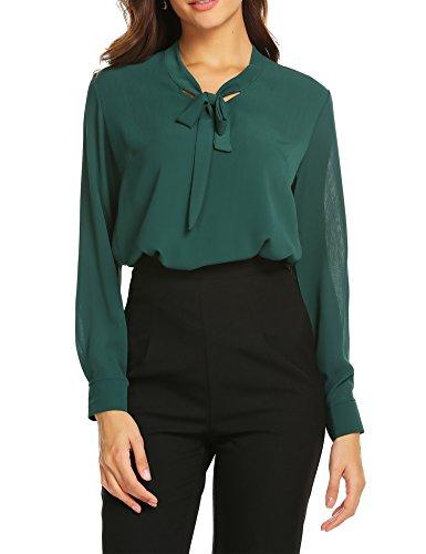 Plus Long Sleeve Blouse - ACEVOG Womens Bow Tie Neck Long Sleeve Office Business Blouse Shirts,Dark Green,XX-Large