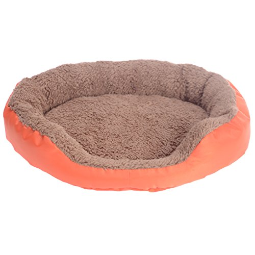 Spring fever Ultra-Soft Water Resistant Self Warming Round Solid Pet Bed Summer Cooling Woven Mat Orange (Round Wood Canopy)