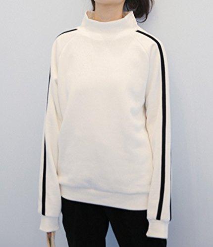 T Collo Jumper Lunga Tops shirt Bluse Casual Bianca2 Sweater Donne Maglioni A Yupolb Manica Sweatshirt Pullover Felpe Alto qwz0ntg