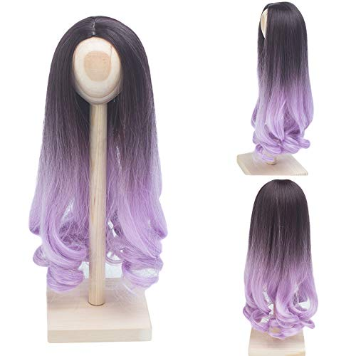 BJD Doll Wig Heat Resistant Fiber Long Deep Wave Curly Ombre Black Light Purple Doll Hair BJD Doll Wig for 1/3 BJD SD Wig