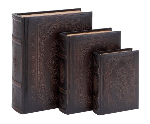 Deco 79 Smooth Leather Book Box Set with Floral Decoration (Books Decor Fake)