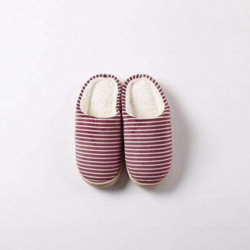 LaxBa Hommes Femmes tricoté coton Maison Chaussons antiglisse café rouge slivoïde38-39 pour 37-38 pieds