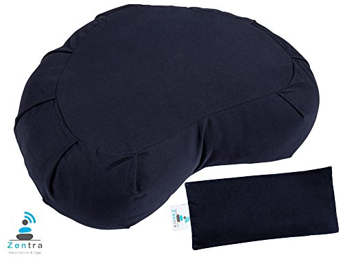 Zentra Zafu Crescent Yoga MEDITATION CUSHION with BONUS EYE PILLOW - 100% Natural Cotton - Designed for Quality, Comfort, and Durability (Navy)