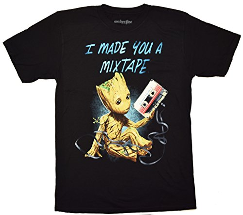 Guardians Of The Galaxy Baby Groot Made You A Mix Tape T-shirt (Extra Large , Black)