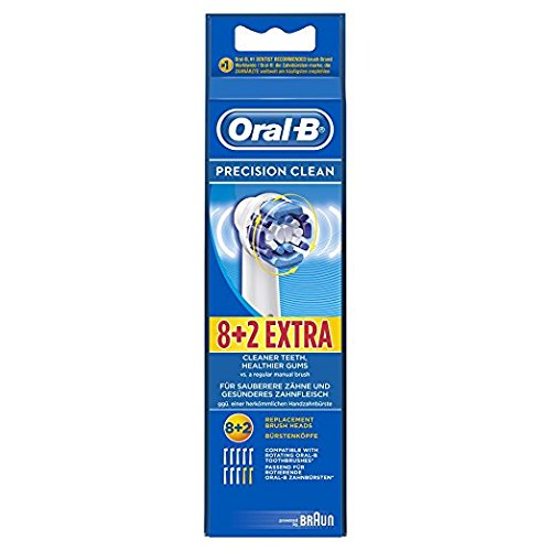 Genuine Original Oral-B Braun Precision Clean Replacement Rechargeable Toothbrush Heads (10 Count)