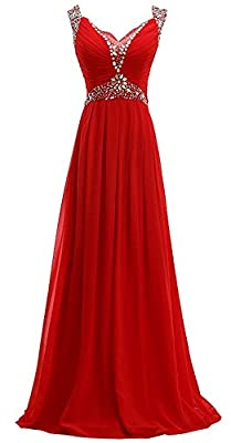 Miss-Meg Women's Long Chiffon V Neck Prom Dresses with Jeweled Waist