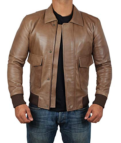 Brown Bomber Leather Jacket - Light Brown Bomber Leather Jacket - The Fault in Our Stars Jacket | L