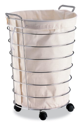 Organize It All Portable Chrome Laundry Hamper with Removable Canvas Liner