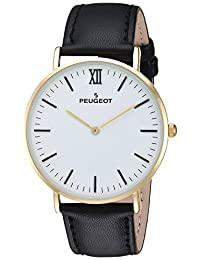 Peugeot Men's '14K Gold Plated' Quartz Metal and Leather Casual Watch, Color Black (Model: 2050WT)