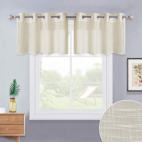 NICETOWN Faux Linen Valances for Kitchen - Country Style Semitransparent Grommet Top Linen Look Window Tiers Sheer Curtain Panel for Kitchen (Beige, 52 inches Wide x 18 inches Long, 2 -