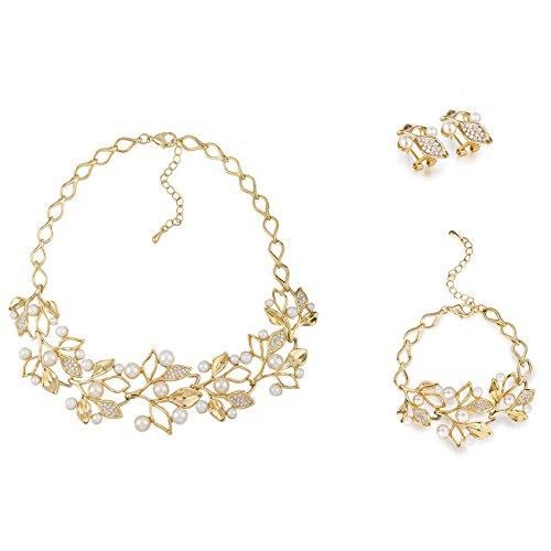 Swarovski Crystal Element & Round Ivory Pearls Vine Necklace, Matching Bracelet, Earrings 3 Piece Set, 14K Gold or Silver, Under $70, Filigree Leaf & Flower Buds Contour Style. Statement Party, Bridal