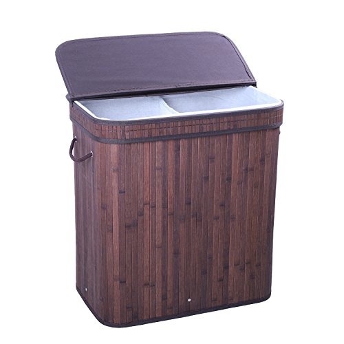 BASTUO Folding Bamboo Laundry Basket Cloth Hamper with Lid and Removable Lining Two Sections Brown Rectangle Laundry Hampers|Compartment Hamper