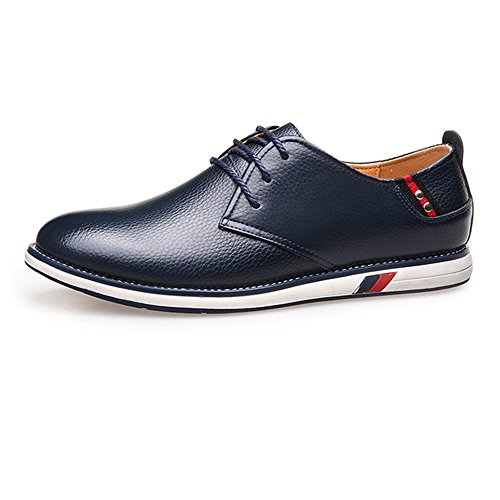Ruiyue Men Loafers Shoes, Classic Simple Design Genuine Cowhide Leather Upper Lace up Flat Sole Loafer for Gentlemen Navy